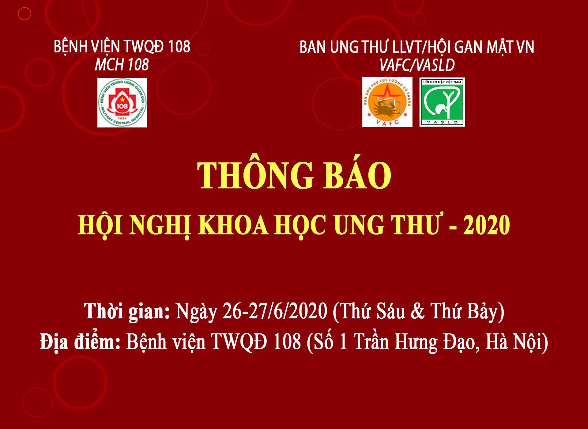 THÔNG BÁO HỘI NGHỊ KHOA HỌC UNG THƯ - 2020